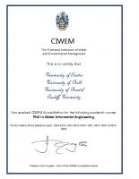 Accreditation Certification – PhD Water Informatics 2018